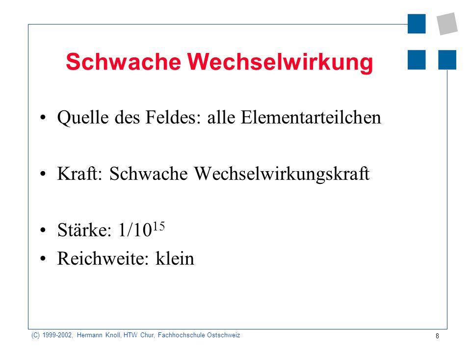 8 (C) 1999-2002, Hermann Knoll, HTW Chur, Fachhochschule Ostschweiz Schwache Wechselwirkung Quelle des Feldes: alle Elementarteilchen Kraft: Schwache