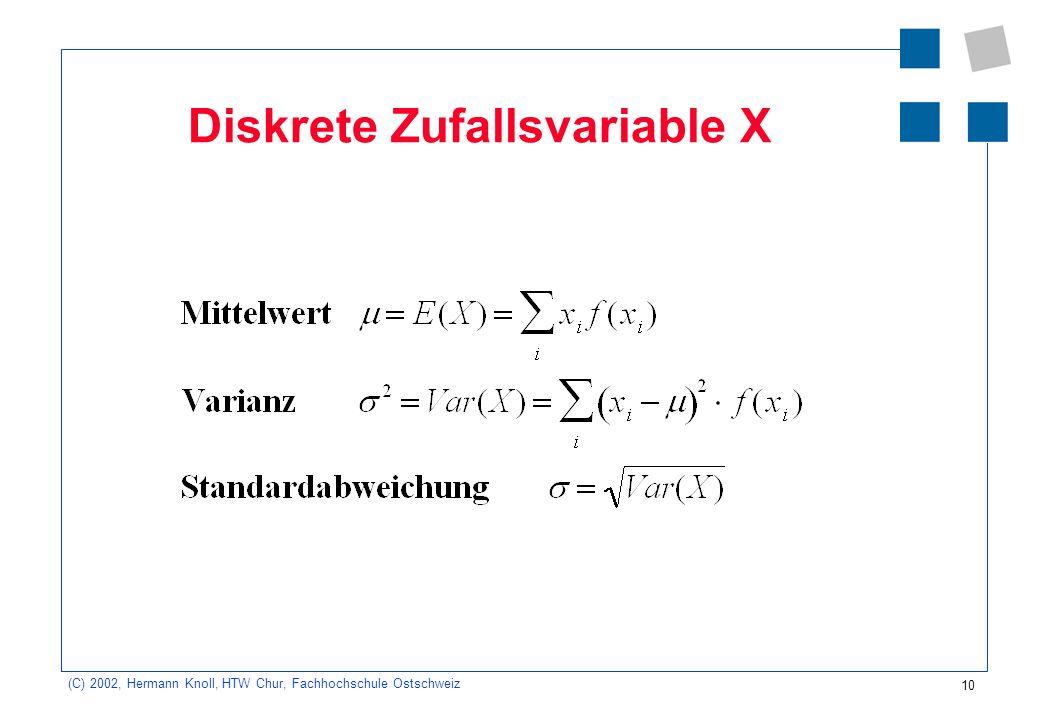 10 (C) 2002, Hermann Knoll, HTW Chur, Fachhochschule Ostschweiz Diskrete Zufallsvariable X