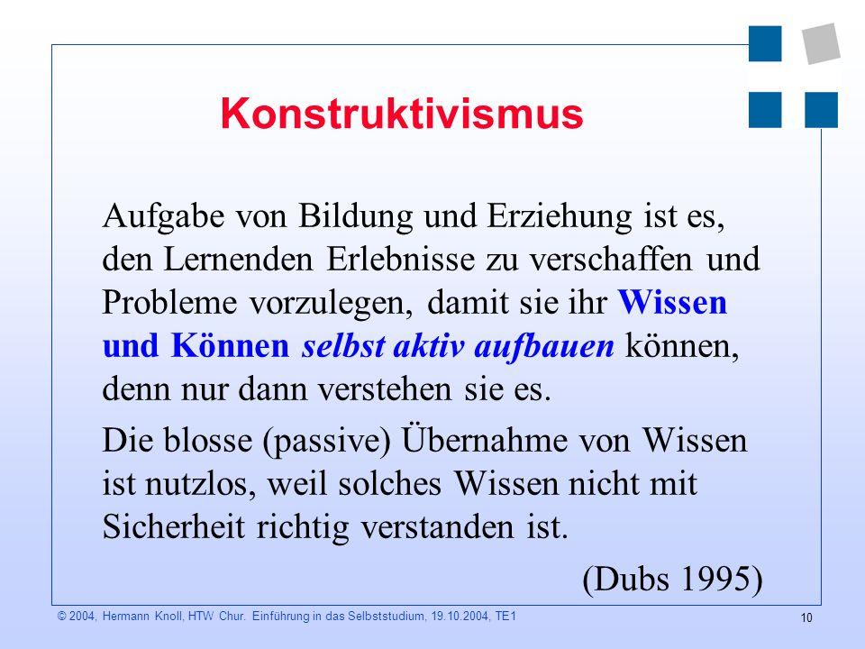 10 © 2004, Hermann Knoll, HTW Chur.