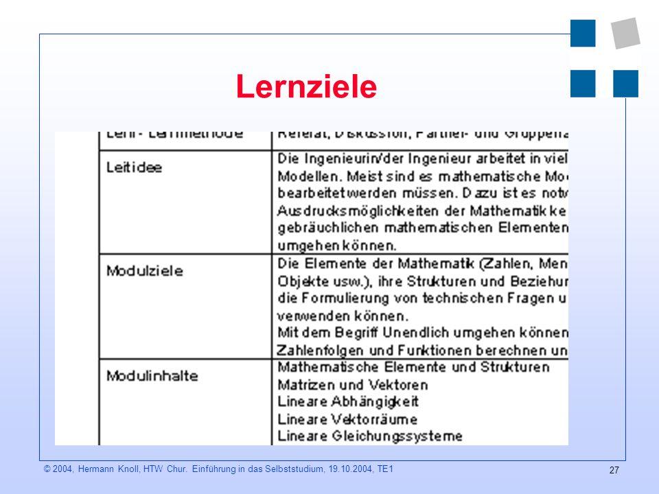 27 © 2004, Hermann Knoll, HTW Chur. Einführung in das Selbststudium, 19.10.2004, TE1 Lernziele