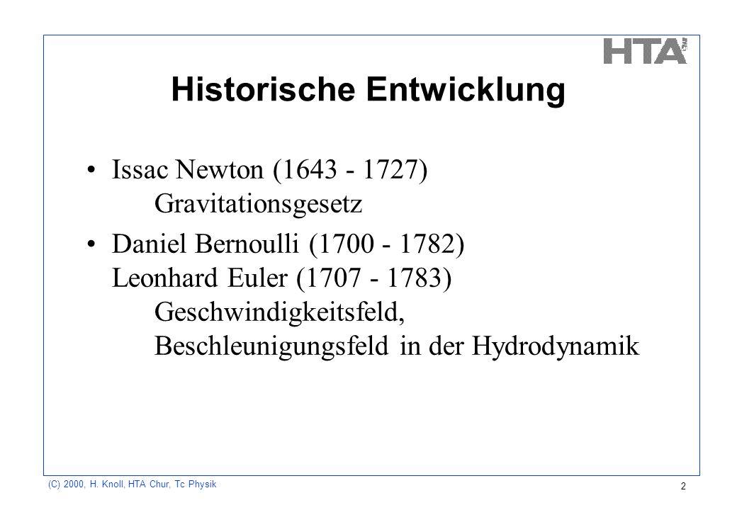 (C) 2000, H. Knoll, HTA Chur, Tc Physik 2 Historische Entwicklung Issac Newton (1643 - 1727) Gravitationsgesetz Daniel Bernoulli (1700 - 1782) Leonhar