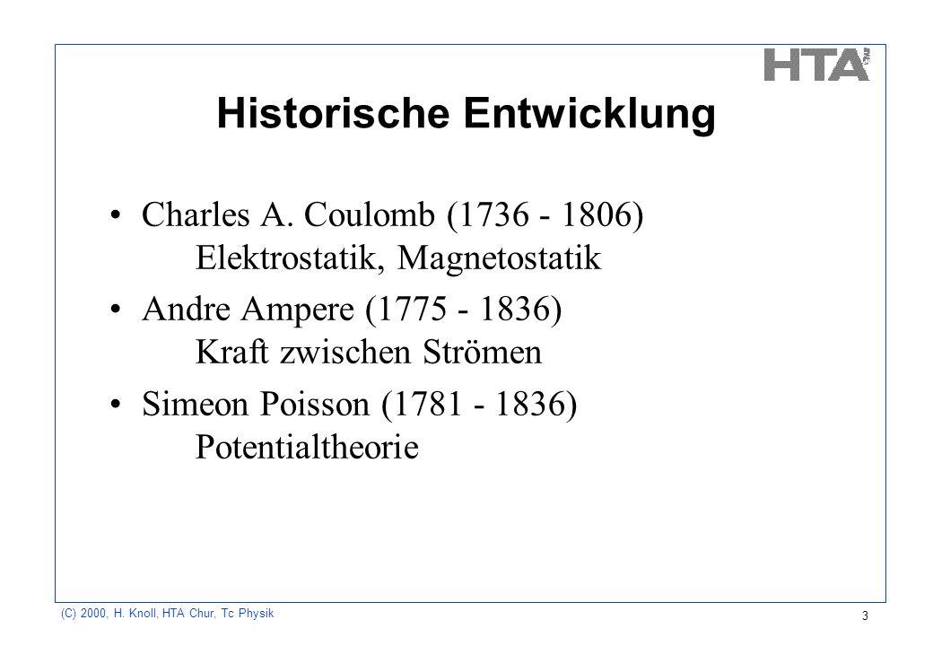 (C) 2000, H. Knoll, HTA Chur, Tc Physik 3 Historische Entwicklung Charles A. Coulomb (1736 - 1806) Elektrostatik, Magnetostatik Andre Ampere (1775 - 1