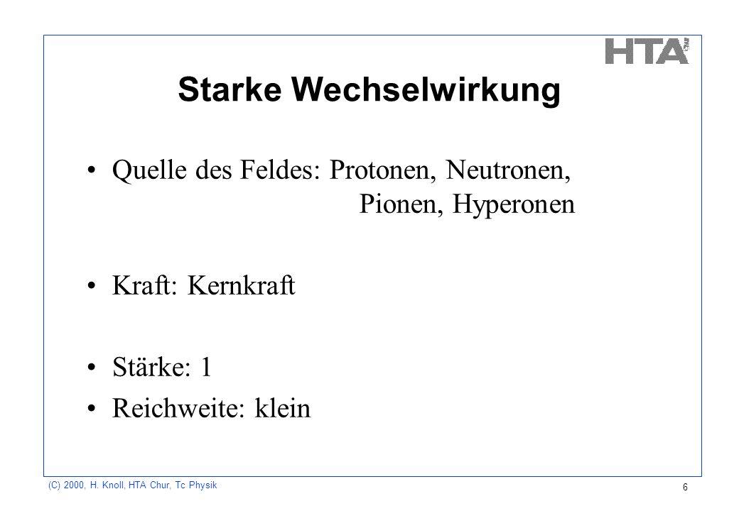 (C) 2000, H. Knoll, HTA Chur, Tc Physik 6 Starke Wechselwirkung Quelle des Feldes: Protonen, Neutronen, Pionen, Hyperonen Kraft: Kernkraft Stärke: 1 R