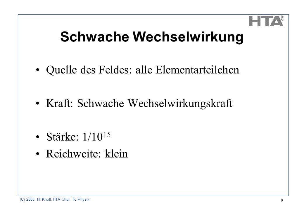 (C) 2000, H. Knoll, HTA Chur, Tc Physik 8 Schwache Wechselwirkung Quelle des Feldes: alle Elementarteilchen Kraft: Schwache Wechselwirkungskraft Stärk