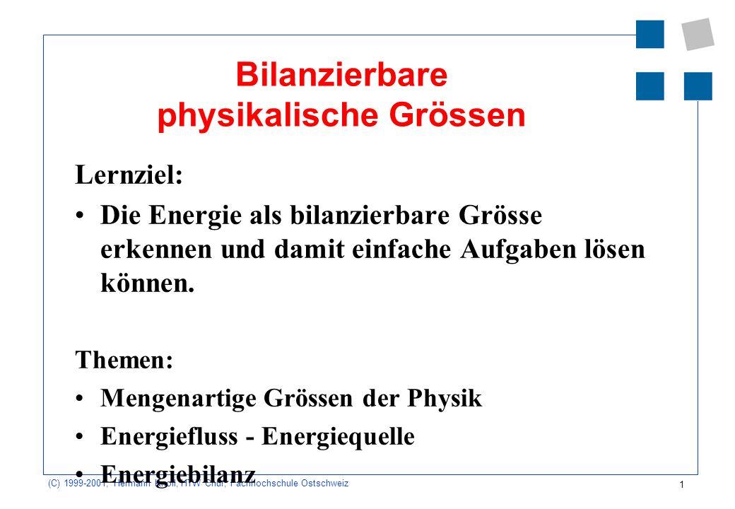 1 (C) 1999-2001, Hermann Knoll, HTW Chur, Fachhochschule Ostschweiz Bilanzierbare physikalische Grössen Lernziel: Die Energie als bilanzierbare Grösse erkennen und damit einfache Aufgaben lösen können.