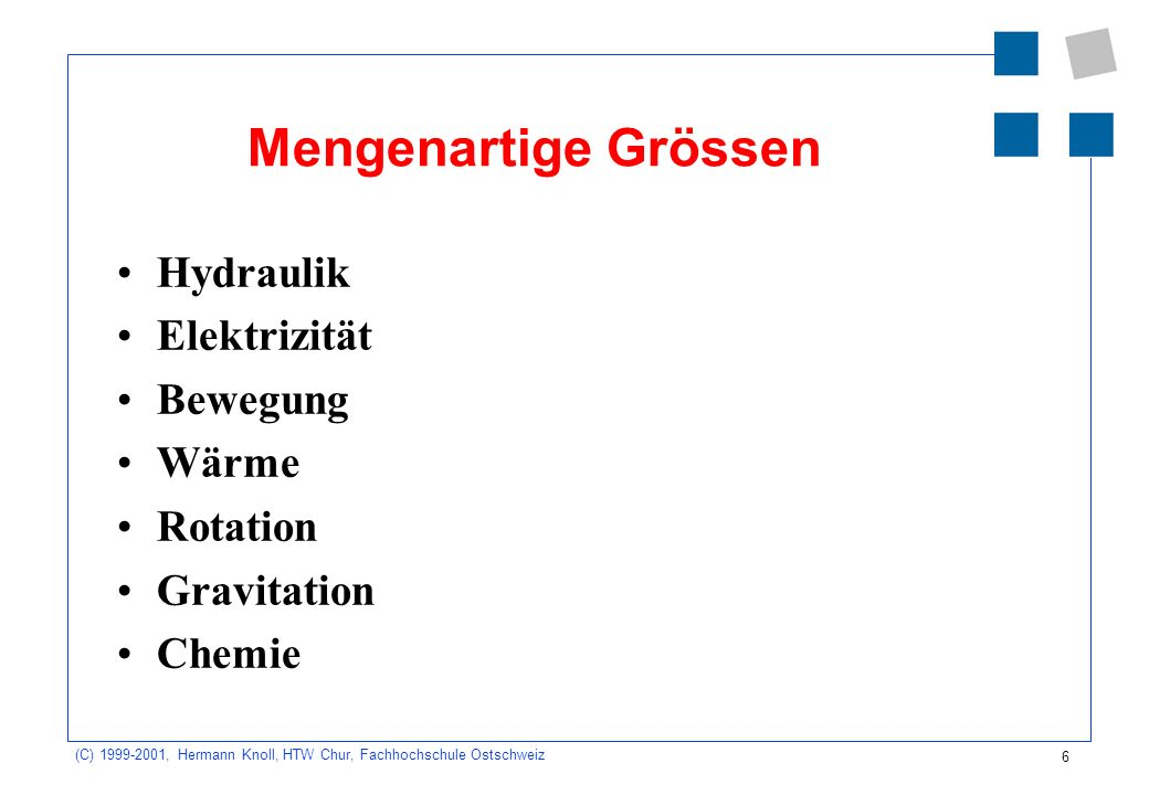 6 (C) 1999-2001, Hermann Knoll, HTW Chur, Fachhochschule Ostschweiz Mengenartige Grössen Hydraulik Elektrizität Bewegung Wärme Rotation Gravitation Chemie