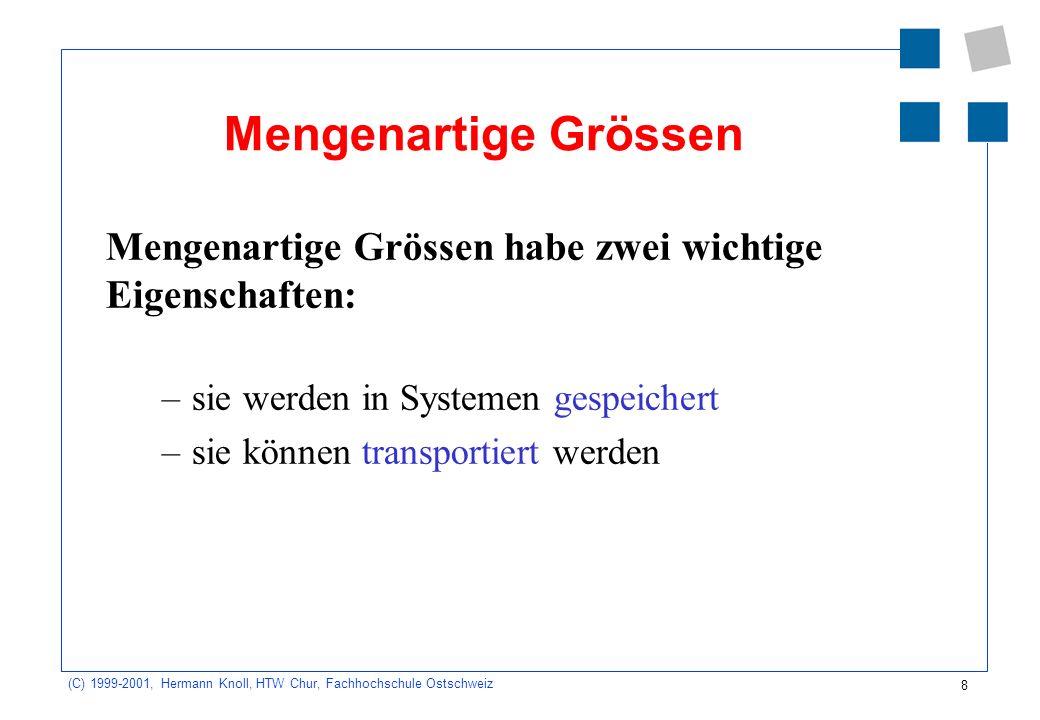 8 (C) 1999-2001, Hermann Knoll, HTW Chur, Fachhochschule Ostschweiz Mengenartige Grössen Mengenartige Grössen habe zwei wichtige Eigenschaften: –sie werden in Systemen gespeichert –sie können transportiert werden