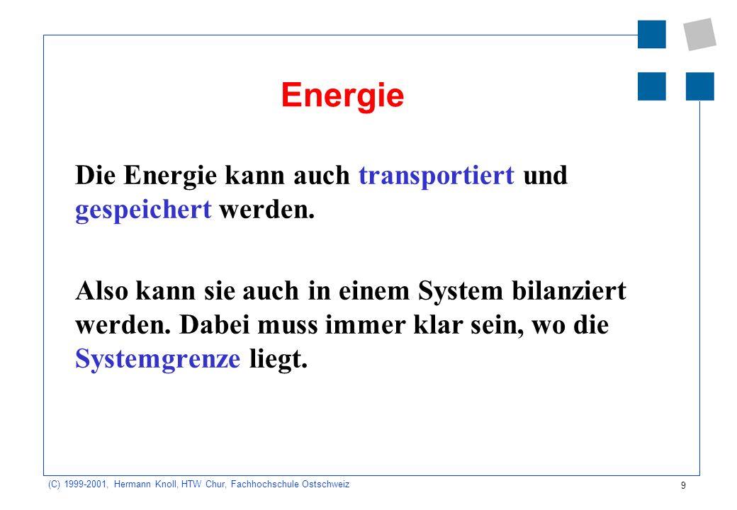 9 (C) 1999-2001, Hermann Knoll, HTW Chur, Fachhochschule Ostschweiz Energie Die Energie kann auch transportiert und gespeichert werden.