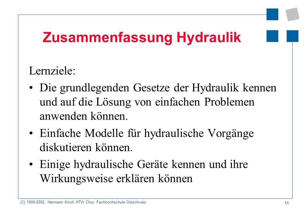 (C) 1999-2002, Hermann Knoll, HTW Chur, Fachhochschule Ostschweiz 11 Zusammenfassung Hydraulik Lernziele: Die grundlegenden Gesetze der Hydraulik kenn