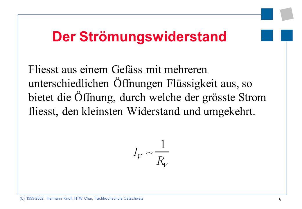 (C) 1999-2002, Hermann Knoll, HTW Chur, Fachhochschule Ostschweiz 7 Das Widerstandsgesetz Der hydraulische Widerstand R V ist proportional zum Druckabfall und indirekt proportional zum Strom.