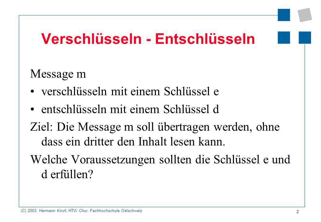 (C) 2003, Hermann Knoll, HTW Chur, Fachhochschule Ostschweiz 2 Verschlüsseln - Entschlüsseln Message m verschlüsseln mit einem Schlüssel e entschlüsseln mit einem Schlüssel d Ziel: Die Message m soll übertragen werden, ohne dass ein dritter den Inhalt lesen kann.