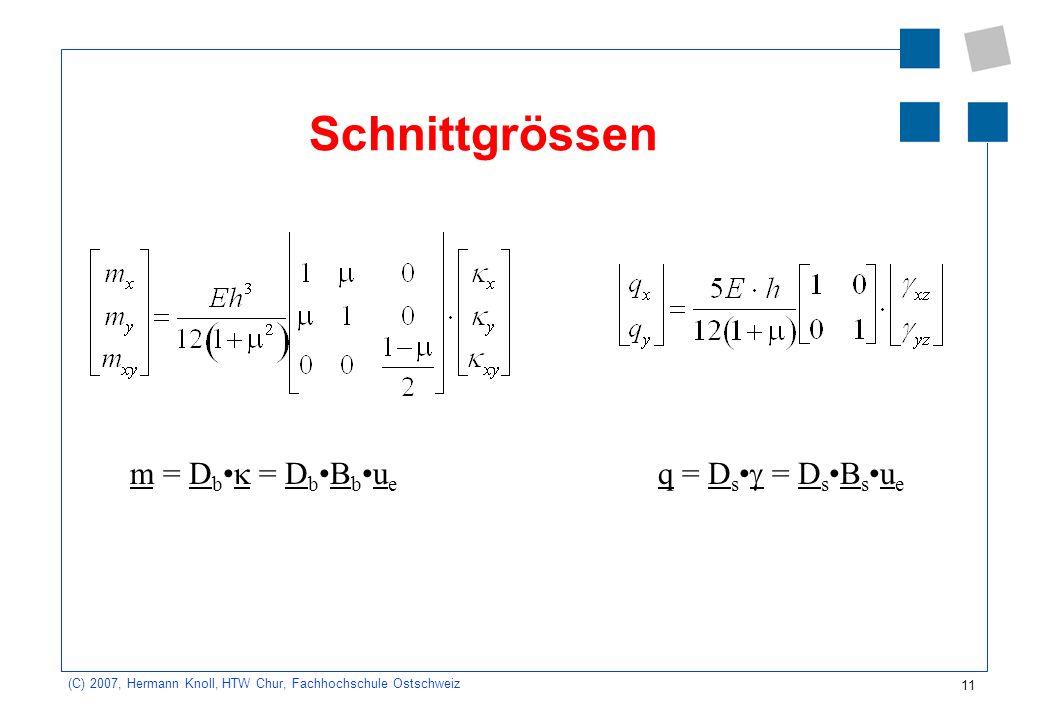 11 (C) 2007, Hermann Knoll, HTW Chur, Fachhochschule Ostschweiz Schnittgrössen m = D b = D bB bu e q = D s = D sB su e