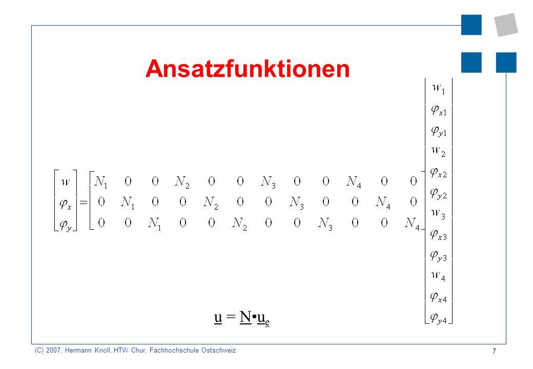 7 (C) 2007, Hermann Knoll, HTW Chur, Fachhochschule Ostschweiz Ansatzfunktionen u = Nu e