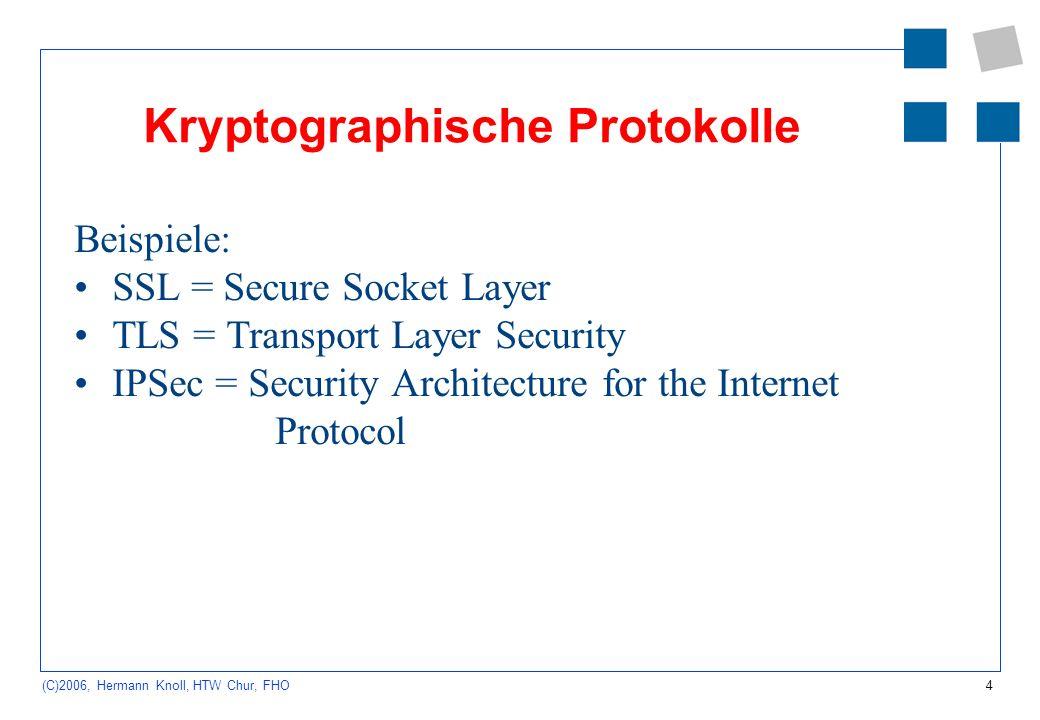 5 (C)2006, Hermann Knoll, HTW Chur, FHO SSL = Secure Socket Layer von Netscape entwickelt hybride Verschlüsselung der Daten zwischen IP- und TCP-Schicht nicht allein auf http festgelegt unterstützt eine Reihe von Verschlüsselungsverfahren, z.B.