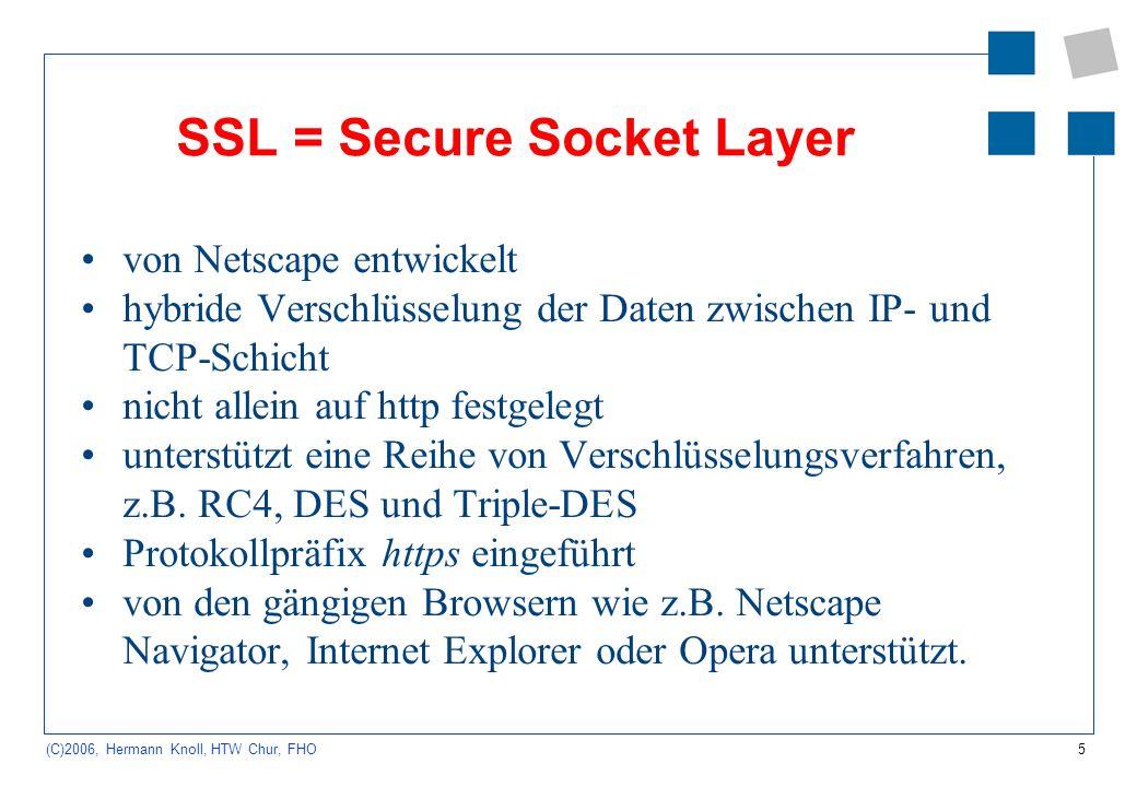 6 (C)2006, Hermann Knoll, HTW Chur, FHO TLS = Transport Layer Security Nachfolger von SSL, baut auf diesem auf Protokoll der Transportschicht zuverlässige und transparente Datenübertragung zwischen zwei Systemen.