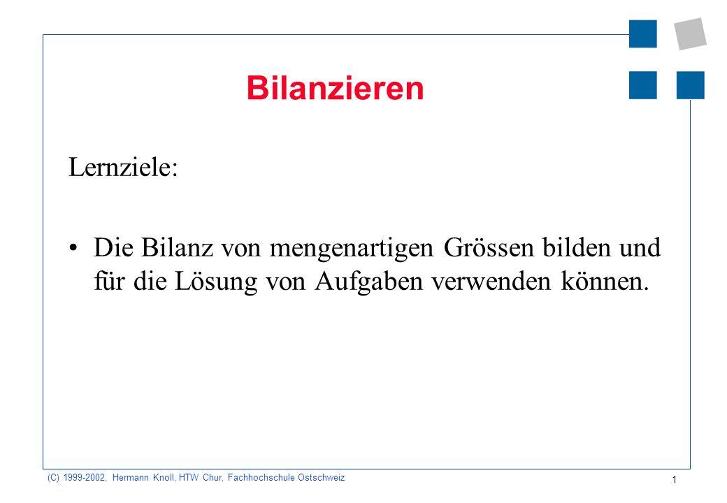 (C) 1999-2002, Hermann Knoll, HTW Chur, Fachhochschule Ostschweiz 1 Bilanzieren Lernziele: Die Bilanz von mengenartigen Grössen bilden und für die Lös