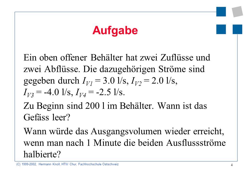 (C) 1999-2002, Hermann Knoll, HTW Chur, Fachhochschule Ostschweiz 4 Aufgabe Ein oben offener Behälter hat zwei Zuflüsse und zwei Abflüsse. Die dazugeh