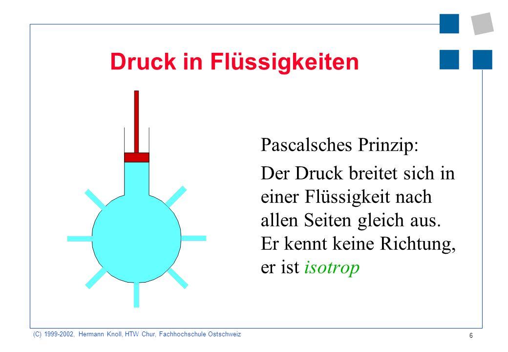 (C) 1999-2002, Hermann Knoll, HTW Chur, Fachhochschule Ostschweiz 6 Druck in Flüssigkeiten Pascalsches Prinzip: Der Druck breitet sich in einer Flüssi