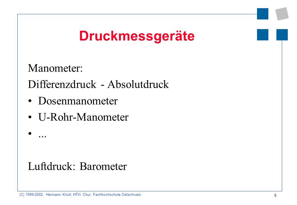 (C) 1999-2002, Hermann Knoll, HTW Chur, Fachhochschule Ostschweiz 9 Der Schweredruck in Flüssigkeiten Der Schweredruck in einer Flüssigkeit nimmt mit der Tiefe gleich- mässig zu.