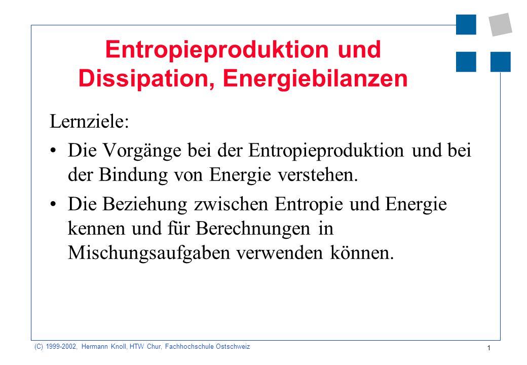 (C) 1999-2002, Hermann Knoll, HTW Chur, Fachhochschule Ostschweiz 2 Übersicht Entropieproduktion bei elektrischen und mechanischen Vorgängen Dissipation: Bindung der Energie an die Entropie Energiebilanz Energie und Temperatur: Die Energiekapazität Mischungsversuche Aufgaben