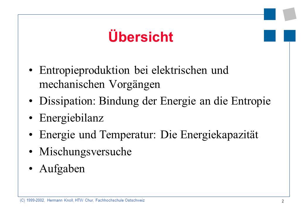 (C) 1999-2002, Hermann Knoll, HTW Chur, Fachhochschule Ostschweiz 2 Übersicht Entropieproduktion bei elektrischen und mechanischen Vorgängen Dissipati