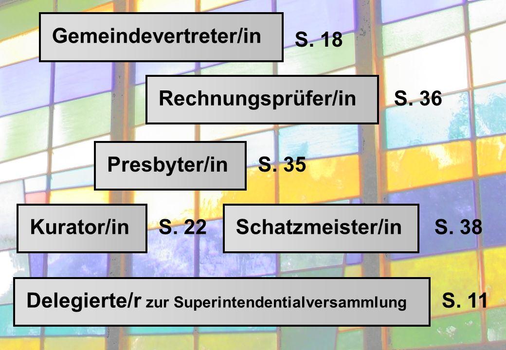 Delegierte/r zur Superintendentialversammlung Rechnungsprüfer/inGemeindevertreter/inSchatzmeister/inKurator/inPresbyter/in S.