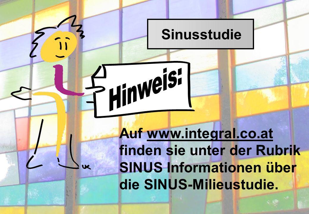Auf www.integral.co.at finden sie unter der Rubrik SINUS Informationen über die SINUS-Milieustudie.
