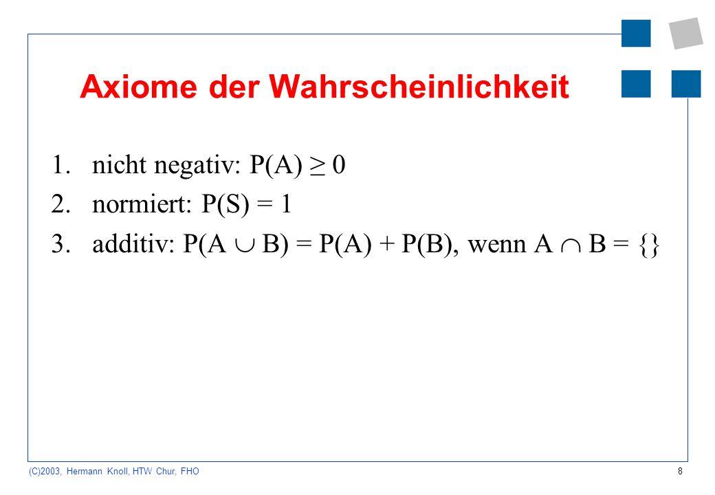 8 (C)2003, Hermann Knoll, HTW Chur, FHO Axiome der Wahrscheinlichkeit 1.nicht negativ: P(A) 0 2.normiert: P(S) = 1 3.additiv: P(A B) = P(A) + P(B), we