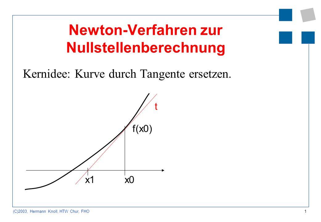 1 (C)2003, Hermann Knoll, HTW Chur, FHO Newton-Verfahren zur Nullstellenberechnung Kernidee: Kurve durch Tangente ersetzen. x0x1 t f(x0)