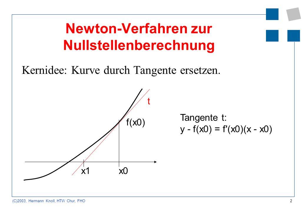 2 (C)2003, Hermann Knoll, HTW Chur, FHO Newton-Verfahren zur Nullstellenberechnung Kernidee: Kurve durch Tangente ersetzen. x0x1 t f(x0) Tangente t: y