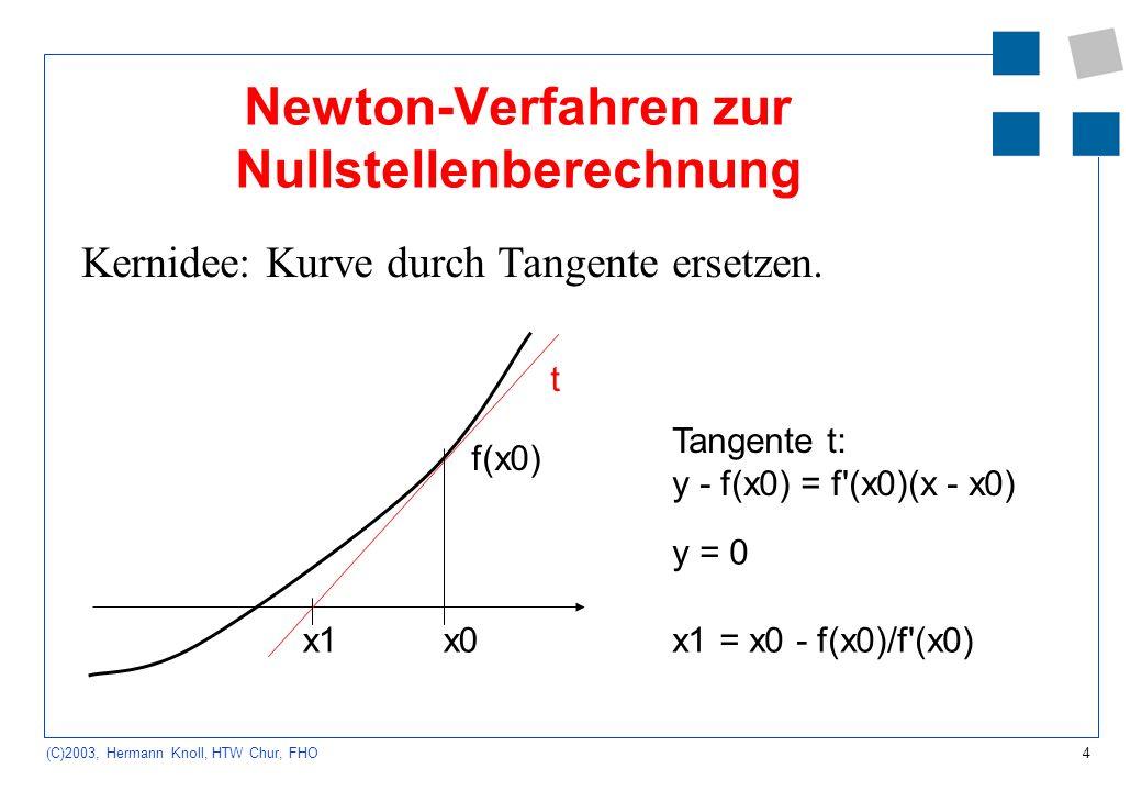 4 (C)2003, Hermann Knoll, HTW Chur, FHO Newton-Verfahren zur Nullstellenberechnung Kernidee: Kurve durch Tangente ersetzen. x0x1 t f(x0) Tangente t: y