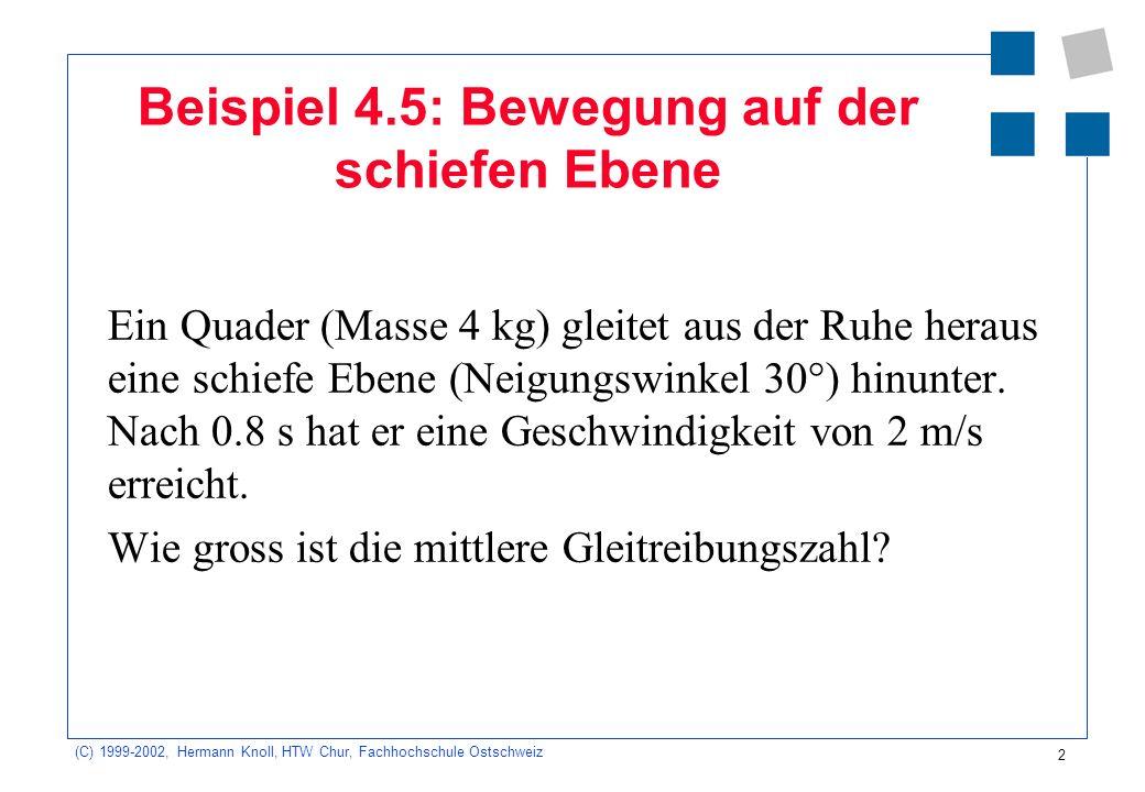(C) 1999-2002, Hermann Knoll, HTW Chur, Fachhochschule Ostschweiz 13 Beispiel 1