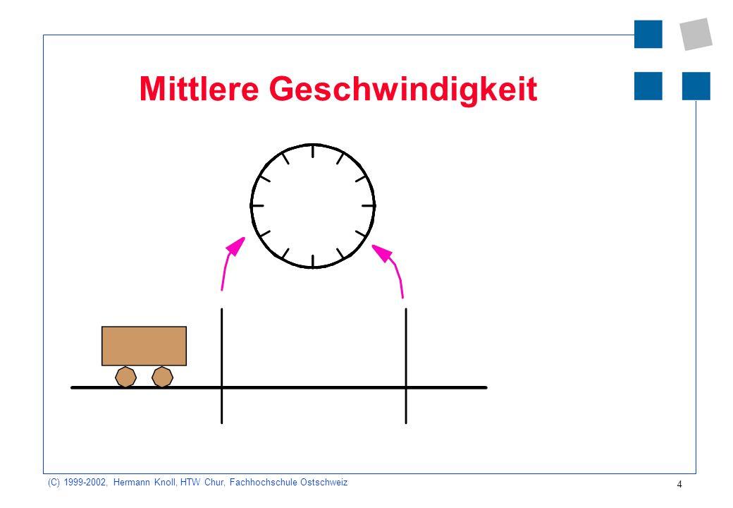 (C) 1999-2002, Hermann Knoll, HTW Chur, Fachhochschule Ostschweiz 5 Mittlere Geschwindigkeit