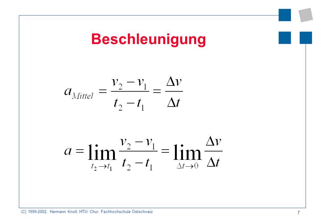 (C) 1999-2002, Hermann Knoll, HTW Chur, Fachhochschule Ostschweiz 8 Der zurückgelegte Weg Der zurückgelegte Weg ist gleich der Fläche im v-t- Diagramm