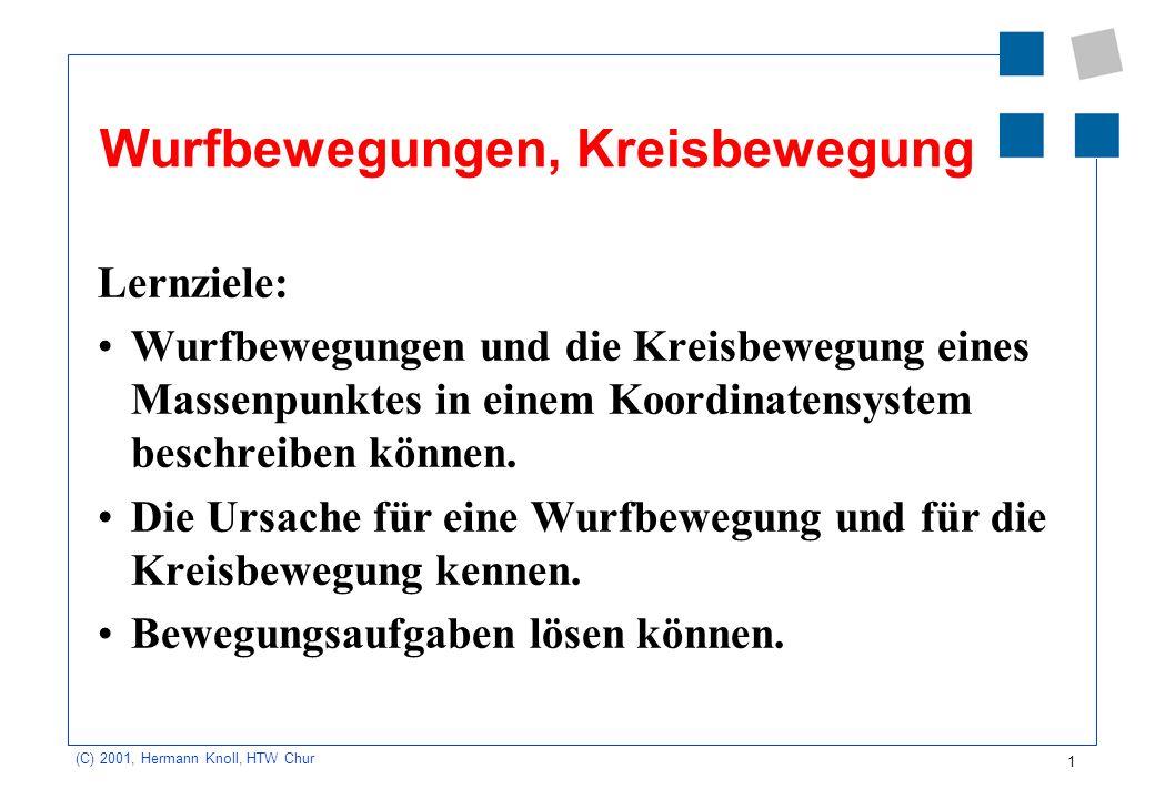1 (C) 2001, Hermann Knoll, HTW Chur Wurfbewegungen, Kreisbewegung Lernziele: Wurfbewegungen und die Kreisbewegung eines Massenpunktes in einem Koordin