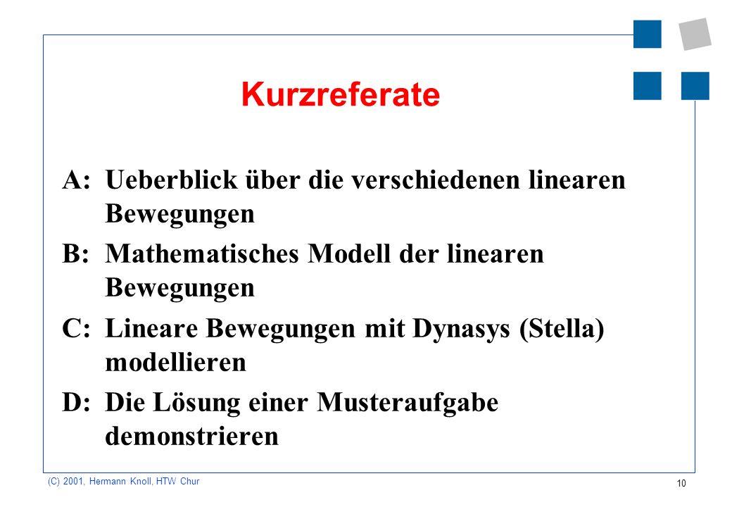 10 (C) 2001, Hermann Knoll, HTW Chur Kurzreferate A: Ueberblick über die verschiedenen linearen Bewegungen B: Mathematisches Modell der linearen Beweg