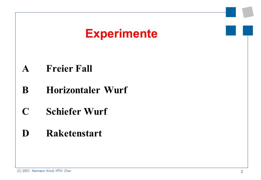 2 (C) 2001, Hermann Knoll, HTW Chur Experimente A Freier Fall B Horizontaler Wurf C Schiefer Wurf D Raketenstart