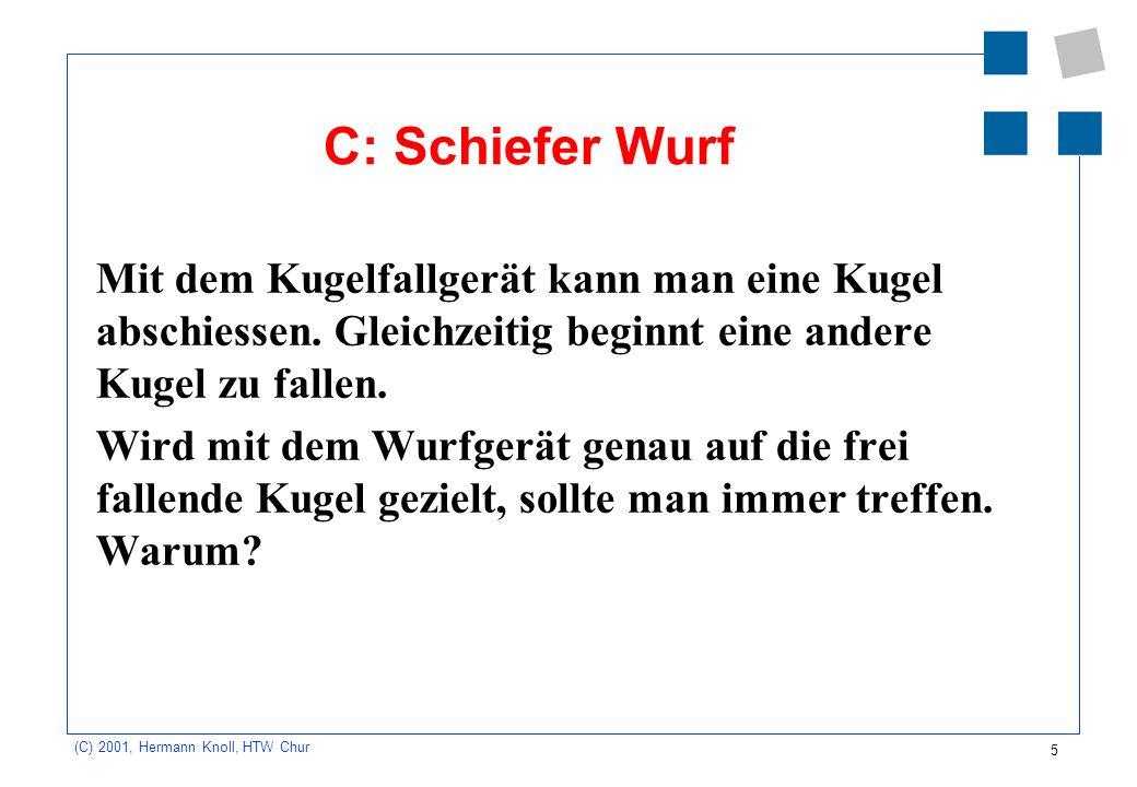 5 (C) 2001, Hermann Knoll, HTW Chur C: Schiefer Wurf Mit dem Kugelfallgerät kann man eine Kugel abschiessen. Gleichzeitig beginnt eine andere Kugel zu