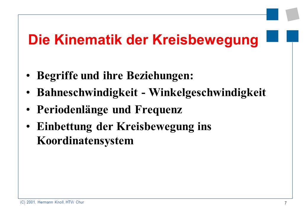 7 (C) 2001, Hermann Knoll, HTW Chur Die Kinematik der Kreisbewegung Begriffe und ihre Beziehungen: Bahneschwindigkeit - Winkelgeschwindigkeit Perioden