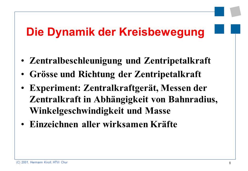 8 (C) 2001, Hermann Knoll, HTW Chur Die Dynamik der Kreisbewegung Zentralbeschleunigung und Zentripetalkraft Grösse und Richtung der Zentripetalkraft