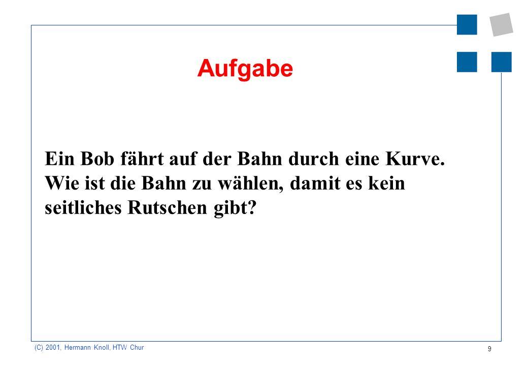 9 (C) 2001, Hermann Knoll, HTW Chur Aufgabe Ein Bob fährt auf der Bahn durch eine Kurve. Wie ist die Bahn zu wählen, damit es kein seitliches Rutschen