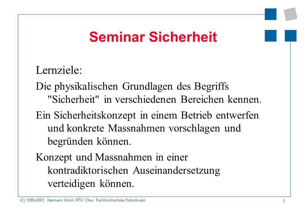 1 (C) 1999-2001, Hermann Knoll, HTW Chur, Fachhochschule Ostschweiz Seminar Sicherheit Lernziele: Die physikalischen Grundlagen des Begriffs Sicherheit in verschiedenen Bereichen kennen.