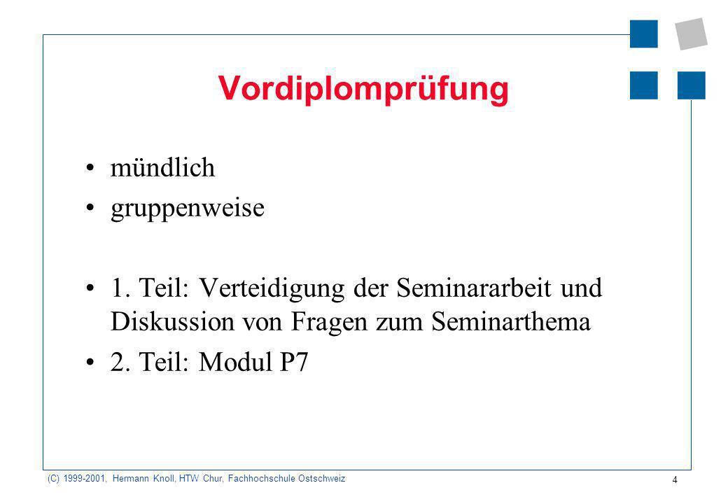 4 (C) 1999-2001, Hermann Knoll, HTW Chur, Fachhochschule Ostschweiz Vordiplomprüfung mündlich gruppenweise 1.