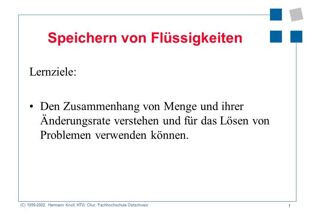 (C) 1999-2002, Hermann Knoll, HTW Chur, Fachhochschule Ostschweiz 1 Speichern von Flüssigkeiten Lernziele: Den Zusammenhang von Menge und ihrer Änderungsrate verstehen und für das Lösen von Problemen verwenden können.