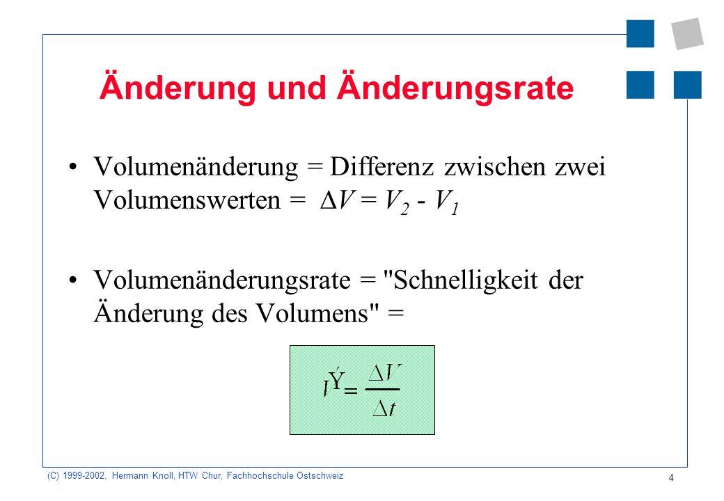 (C) 1999-2002, Hermann Knoll, HTW Chur, Fachhochschule Ostschweiz 4 Änderung und Änderungsrate Volumenänderung = Differenz zwischen zwei Volumenswerten = V = V 2 - V 1 Volumenänderungsrate = Schnelligkeit der Änderung des Volumens =