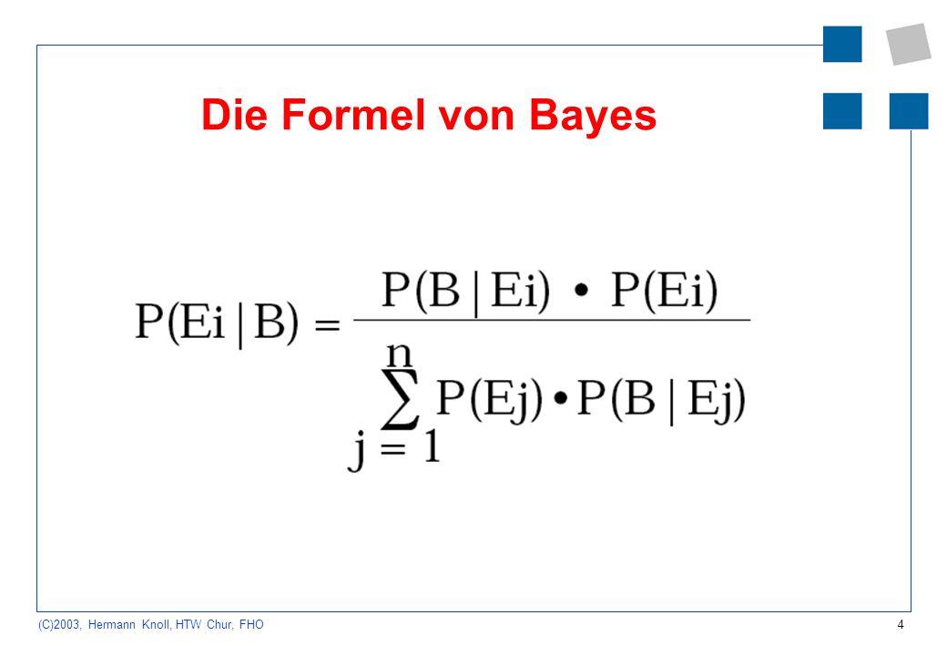 4 (C)2003, Hermann Knoll, HTW Chur, FHO Die Formel von Bayes