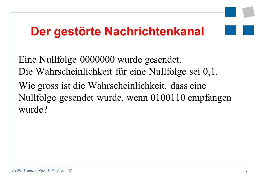 8 (C)2003, Hermann Knoll, HTW Chur, FHO Der gestörte Nachrichtenkanal Eine Nullfolge 0000000 wurde gesendet. Die Wahrscheinlichkeit für eine Nullfolge