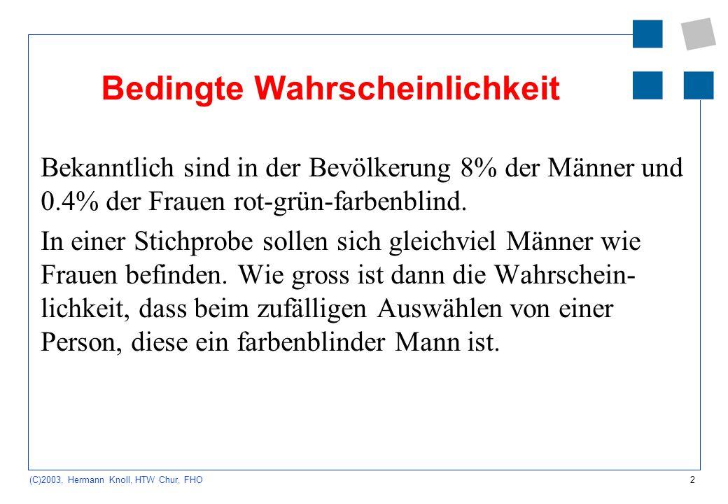 2 (C)2003, Hermann Knoll, HTW Chur, FHO Bedingte Wahrscheinlichkeit Bekanntlich sind in der Bevölkerung 8% der Männer und 0.4% der Frauen rot-grün-far