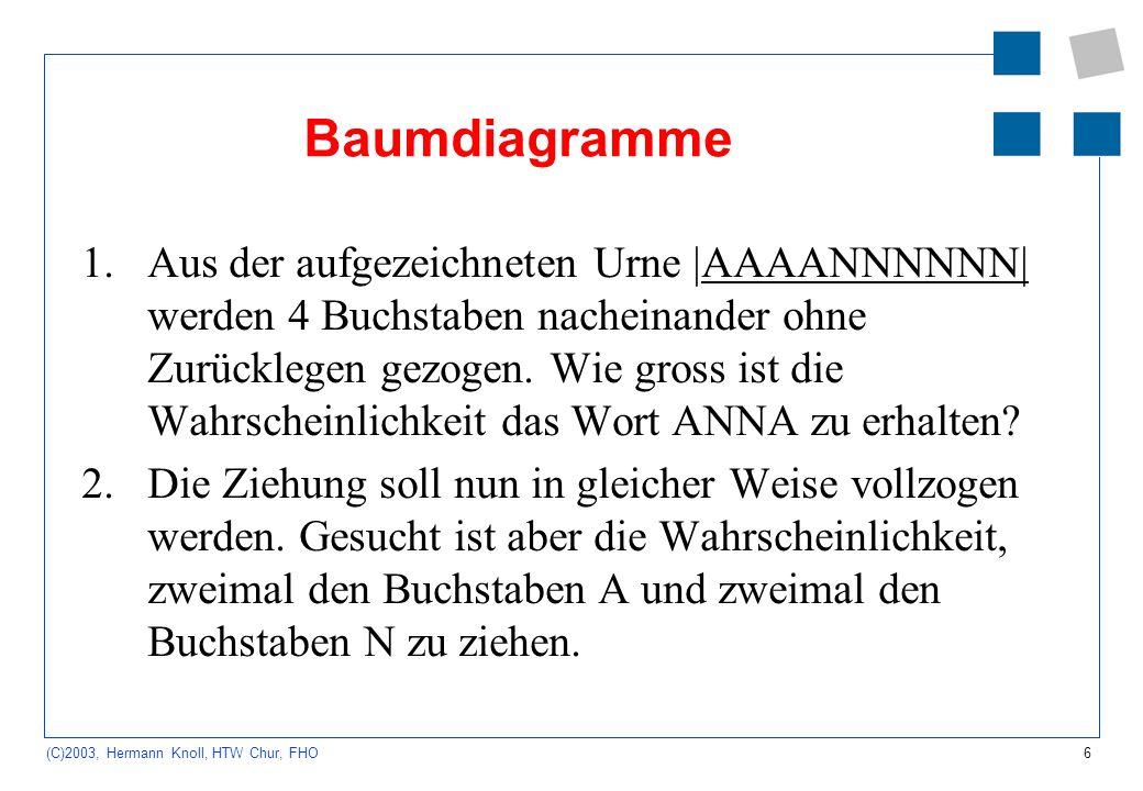 6 (C)2003, Hermann Knoll, HTW Chur, FHO Baumdiagramme 1.Aus der aufgezeichneten Urne |AAAANNNNNN| werden 4 Buchstaben nacheinander ohne Zurücklegen ge