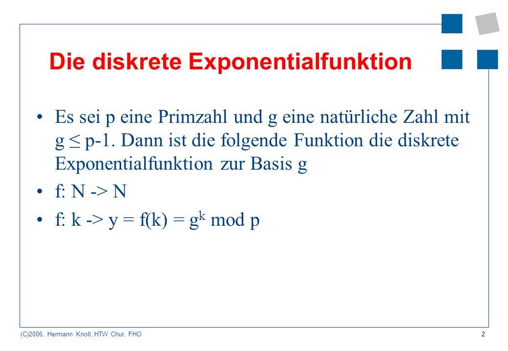 2 (C)2006, Hermann Knoll, HTW Chur, FHO Die diskrete Exponentialfunktion Es sei p eine Primzahl und g eine natürliche Zahl mit g p-1. Dann ist die fol